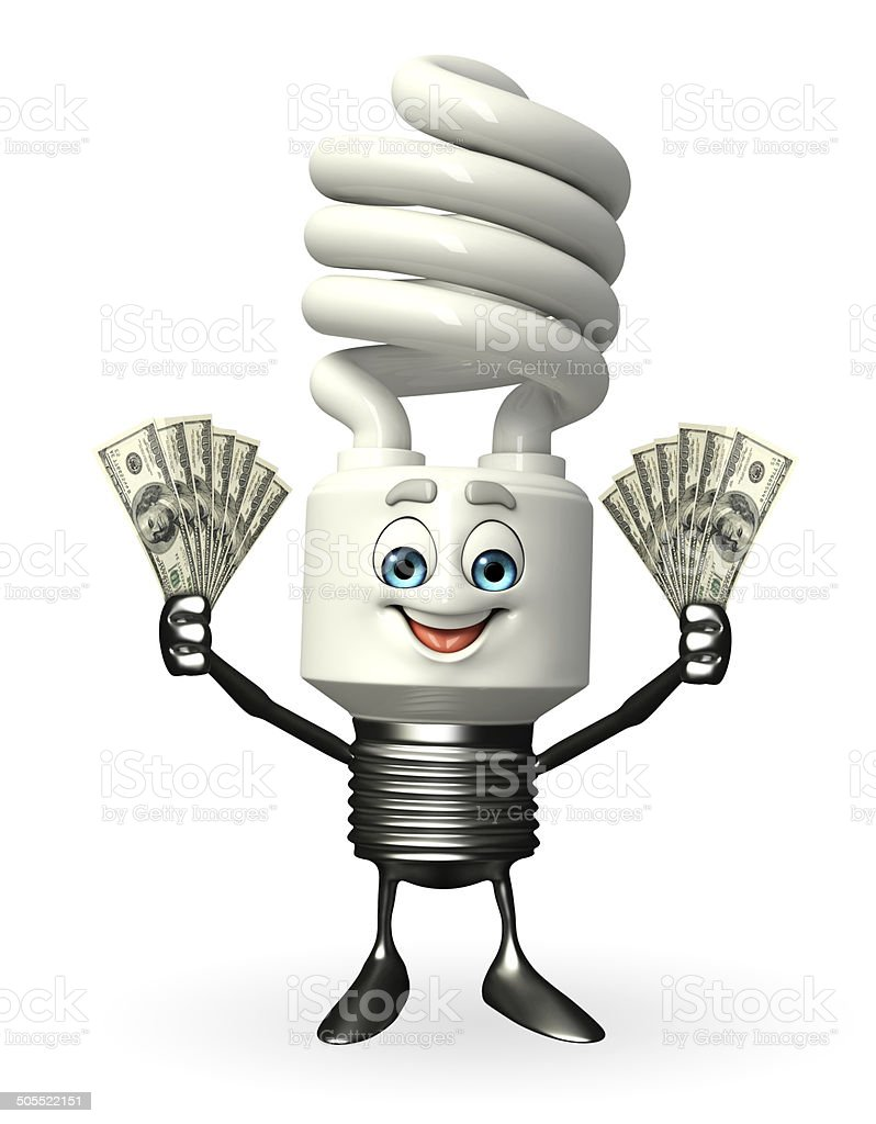 CFL Character with dollars stock photo