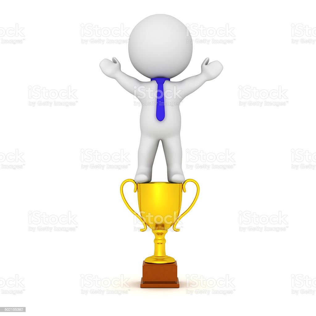 3D Character With Golden Trophy and Blue Tie stock photo