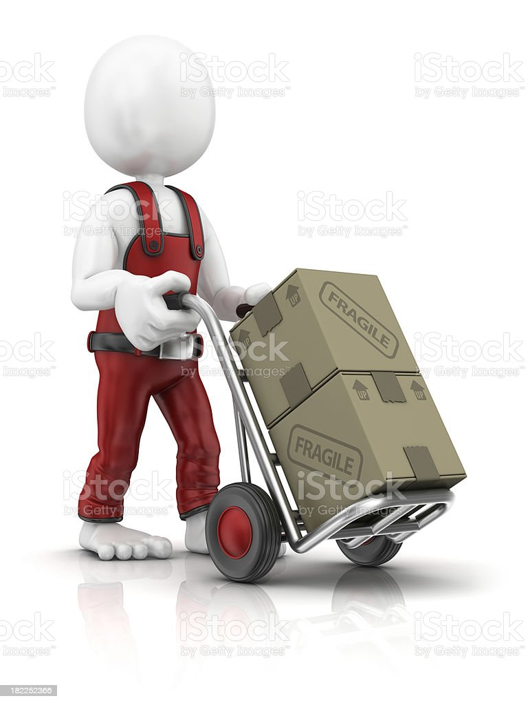 character with hand truck royalty-free stock photo