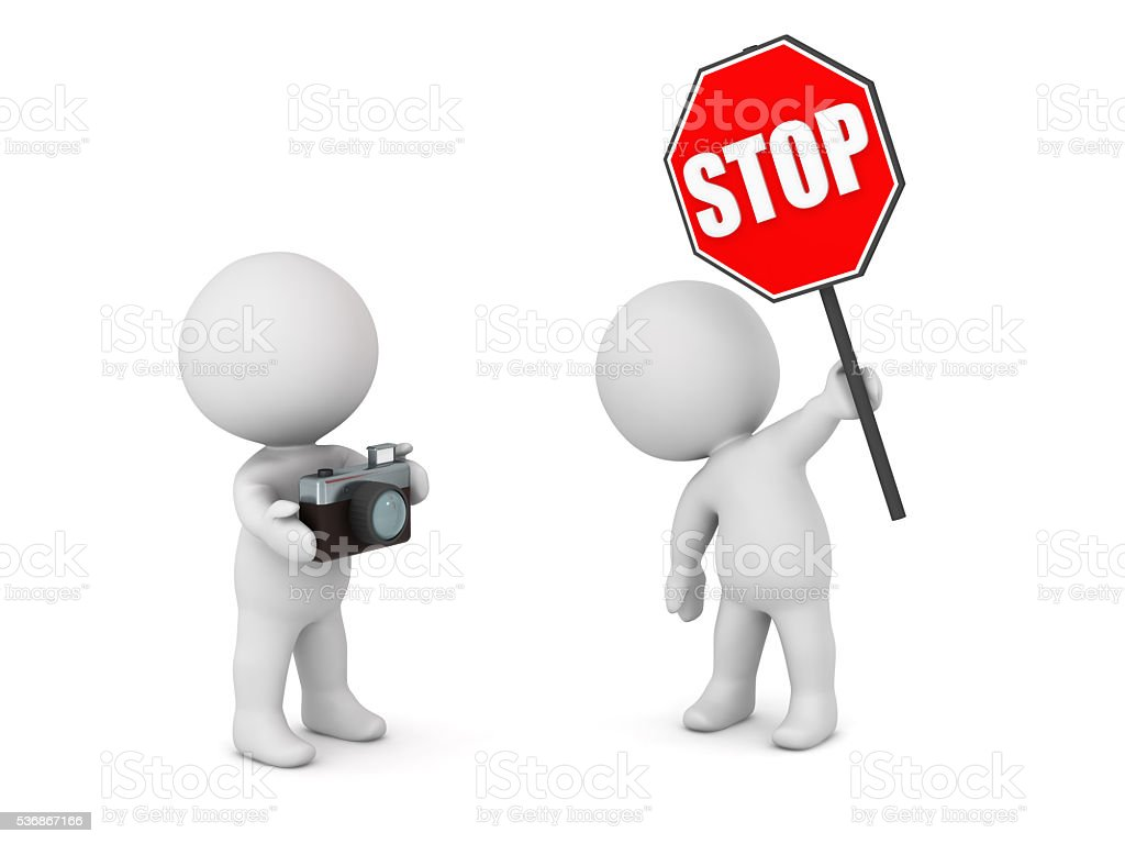 3D Character with Stop Sign and Character with Photo Camera stock photo