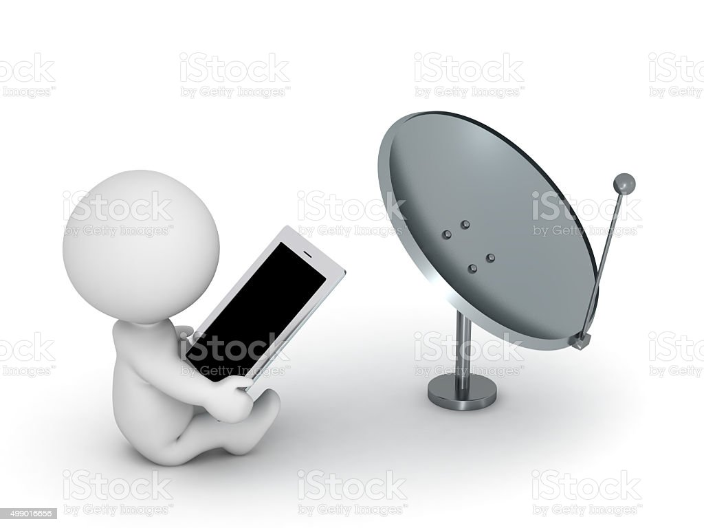 3D Character with Tablet and Broadcast Antenna stock photo