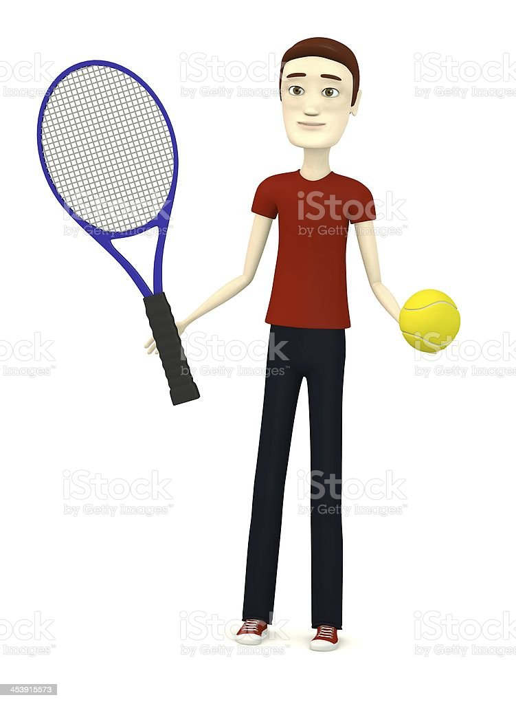 character with tennis ball and racket royalty-free stock photo