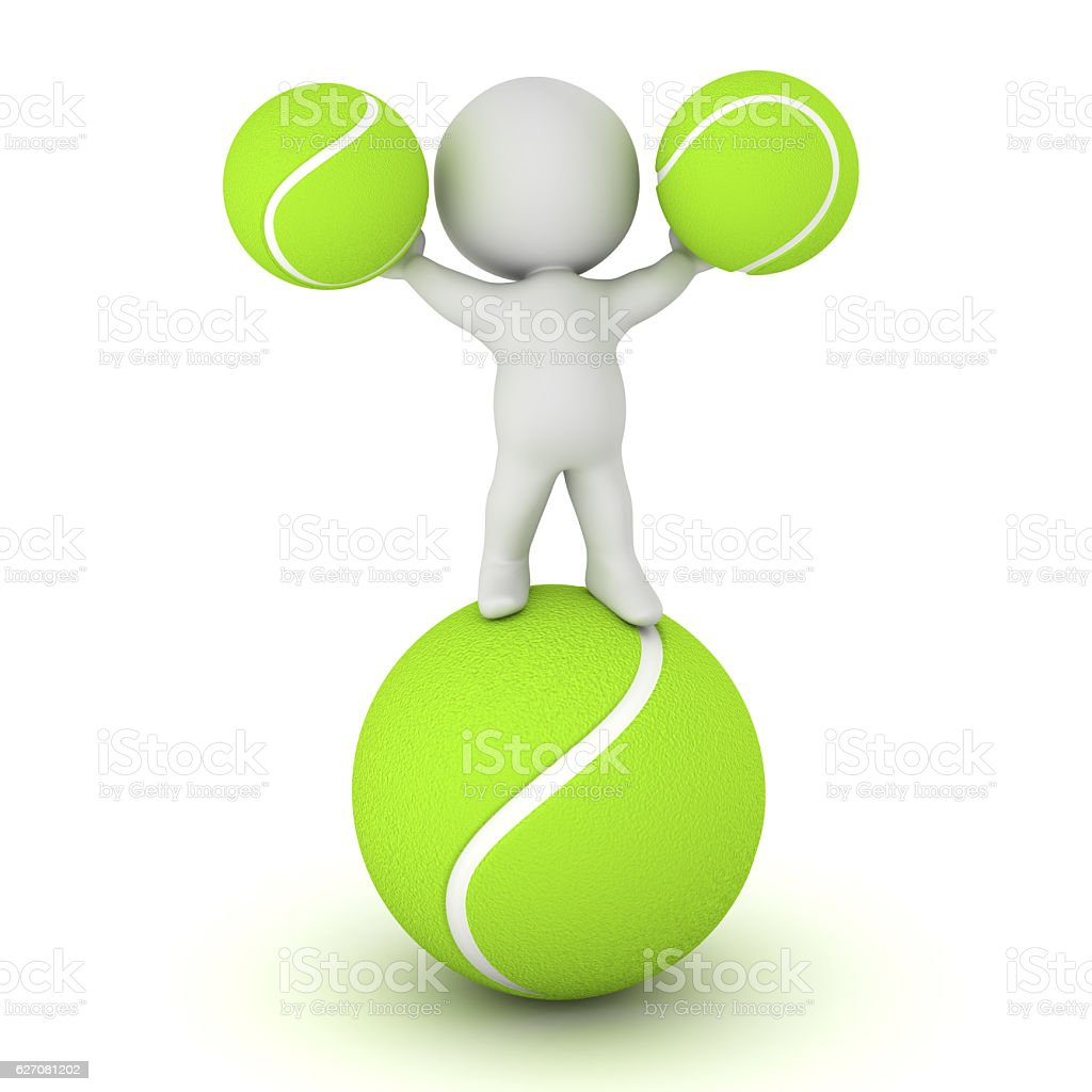 3D Character with Tennis Balls stock photo