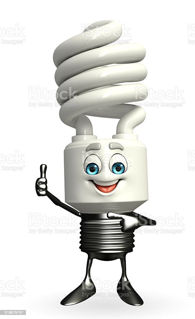 CFL Character with thumbs up pose stock photo