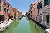 Characteristic canal in Chioggia, lagoon of Venice.