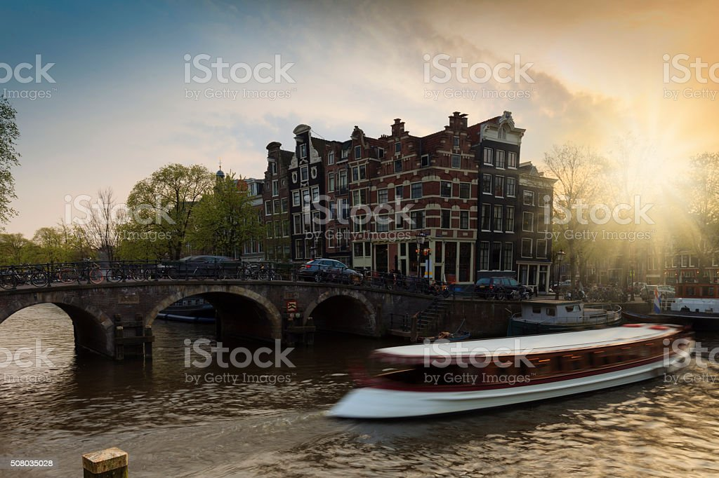 characteristic facades and gables of Amsterdam canal houses stock photo
