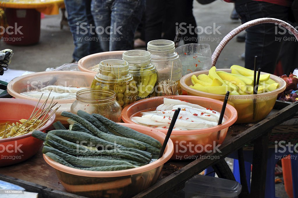 Characteristics Appetizer / Soused Snake Food at Chinese Street stock photo
