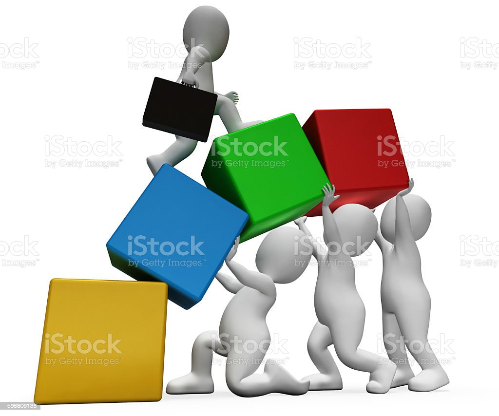 Characters Climb Shows Team Work And Businessman 3d Rendering stock photo
