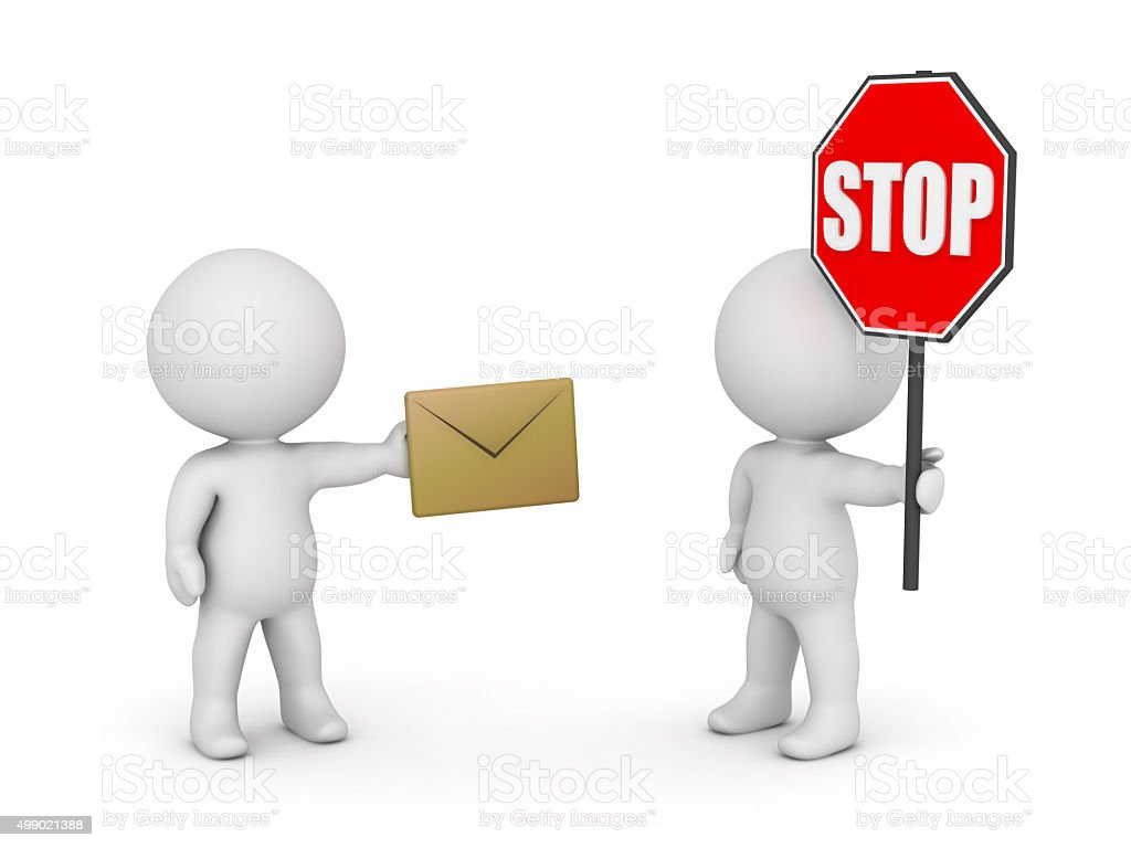 3D Characters depicting stop spamming concept stock photo