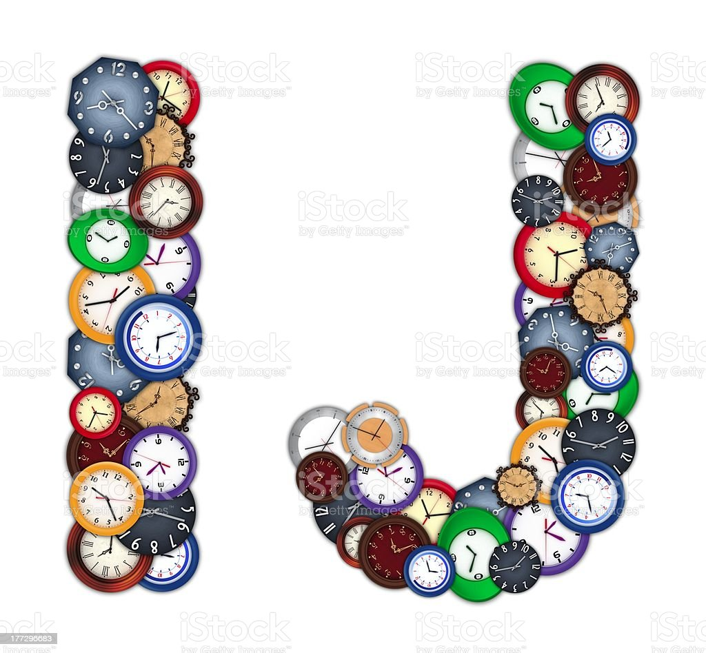 Characters I and J made of various clocks royalty-free stock photo