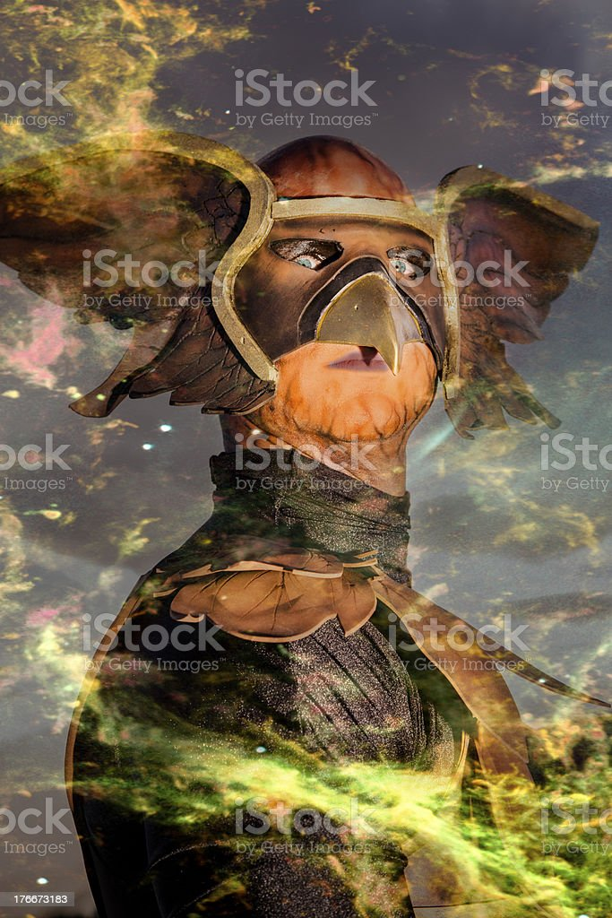 Characters:  Mysterious character arriving out of the atmosphere. royalty-free stock photo