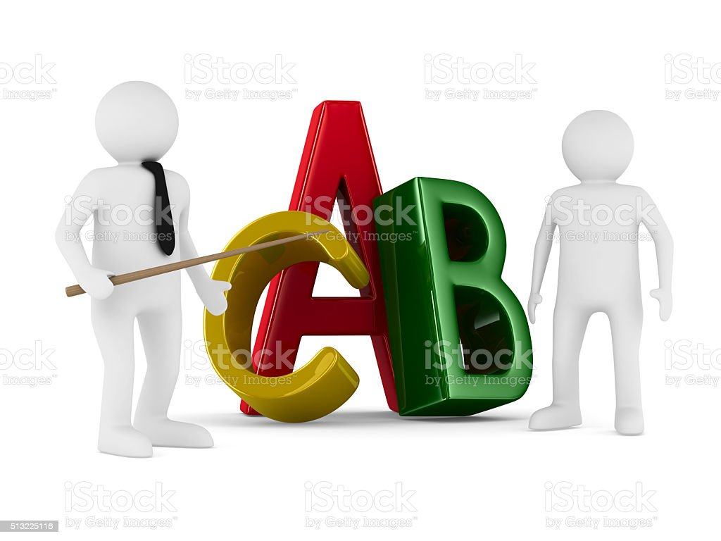 Characters on white background. Isolated 3D image stock photo
