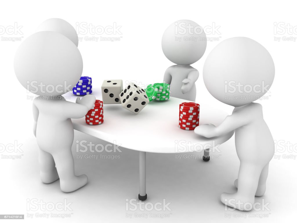 3D Characters playing a gambling game stock photo