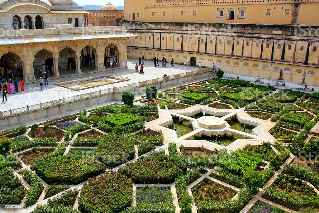 Charbagh garden in the third courtyard of Amber Fort, Rajasthan, stock photo