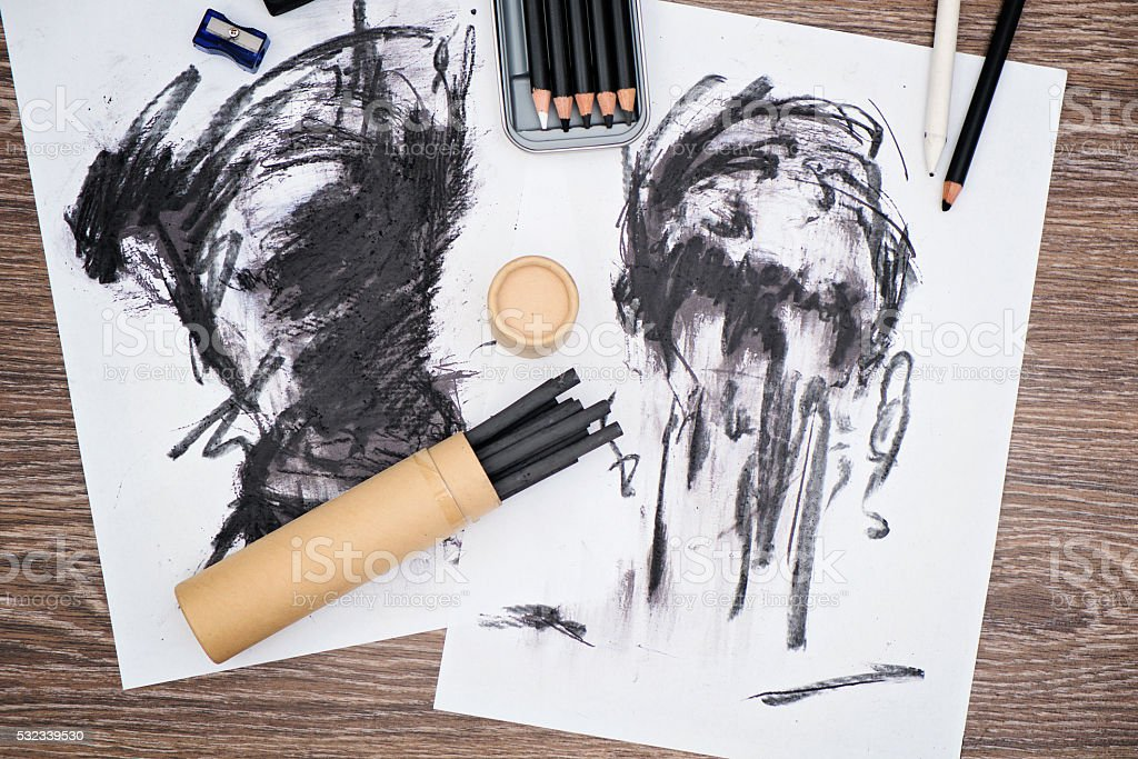 Charcoal art stock photo