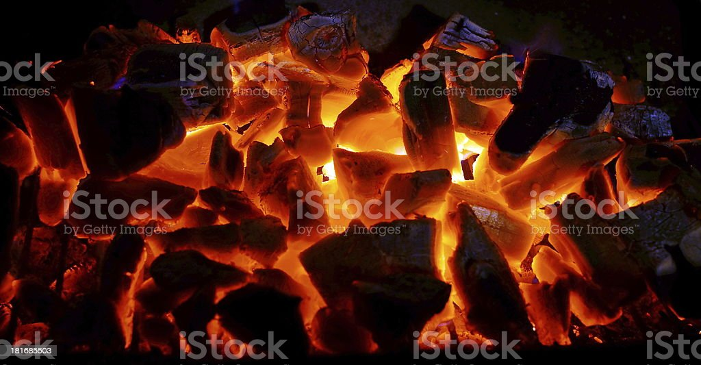 Charcoal burning  in a BBQ stock photo