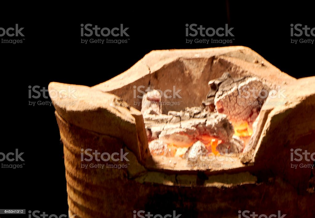 Charcoal cooking traditional Thailand stock photo