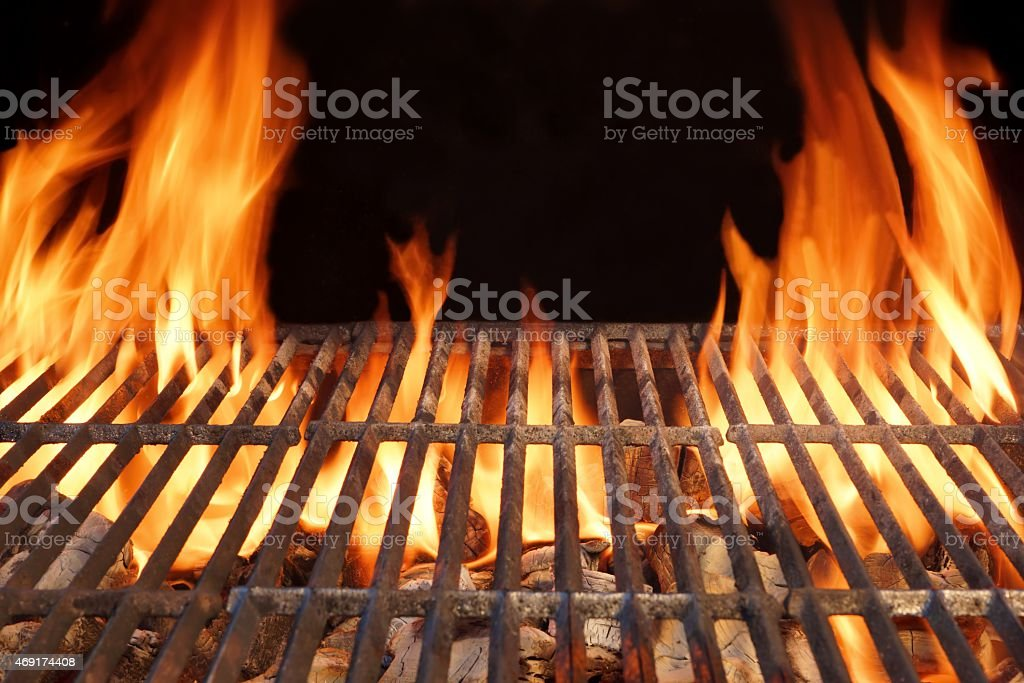 Charcoal grill with giant flames stock photo