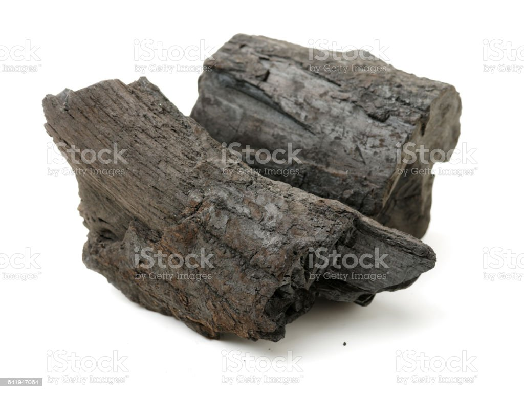 Charcoal  isolated on white stock photo