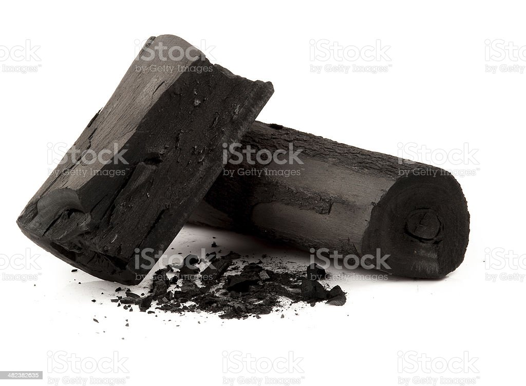 charcoal made of wood stock photo