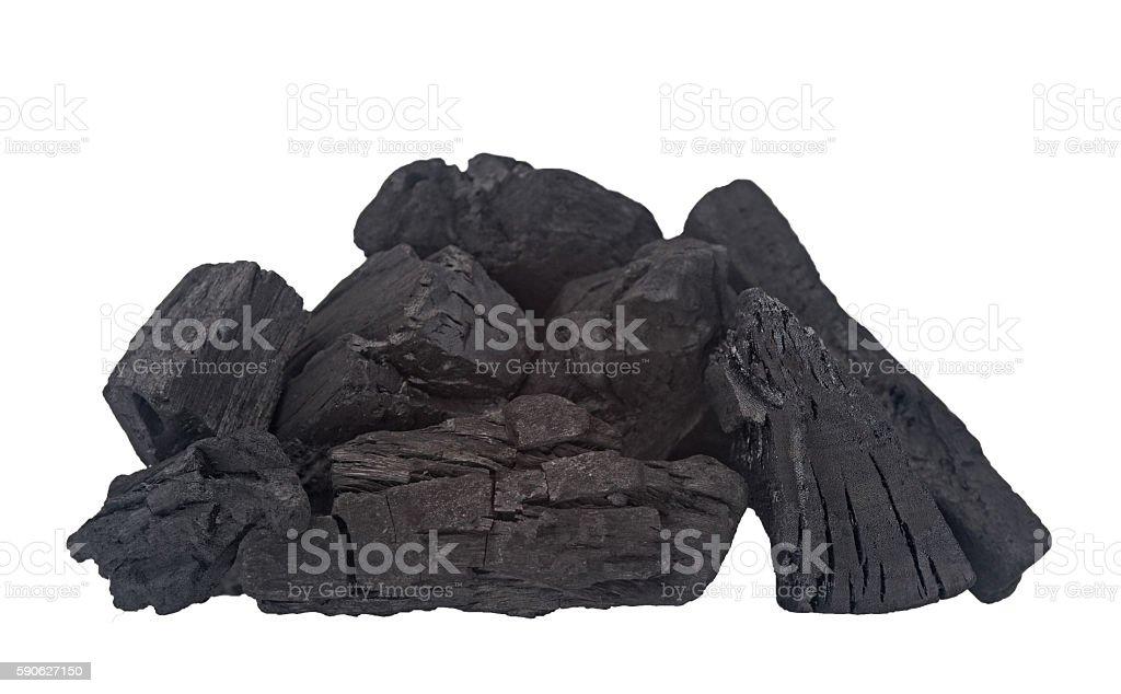 Holzkohle Stücke auf weiß. stock photo