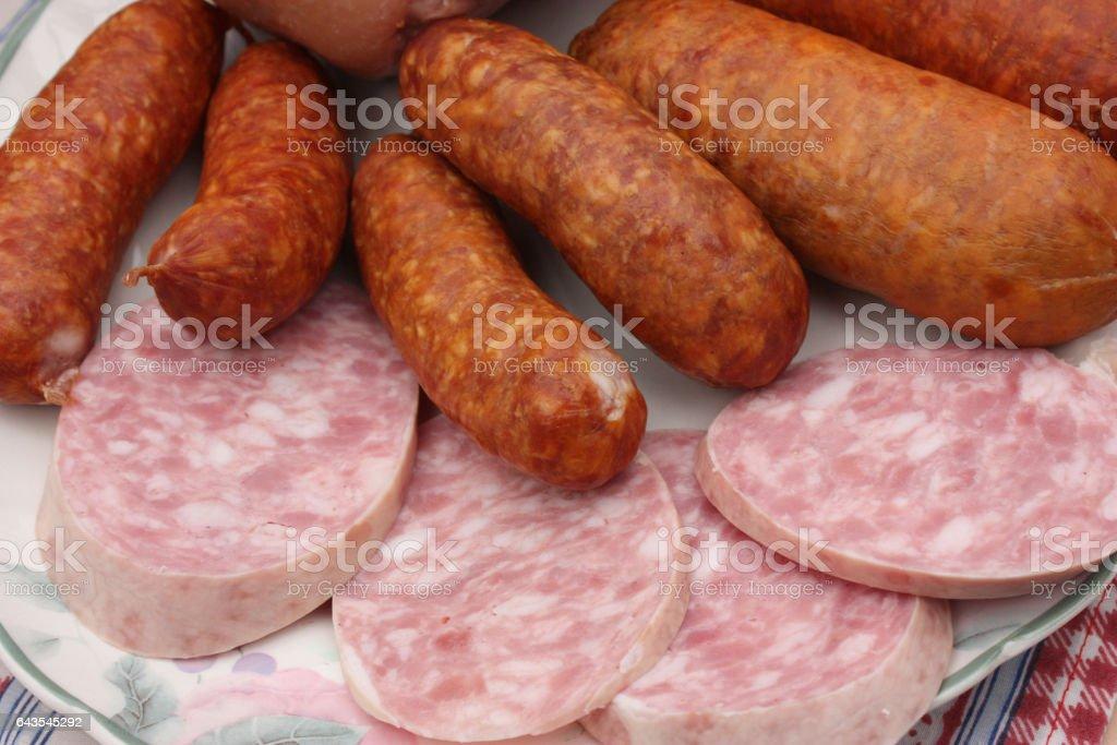 Charcuterie pour Choucroute : Saucisses - Saucisson à l'ail stock photo