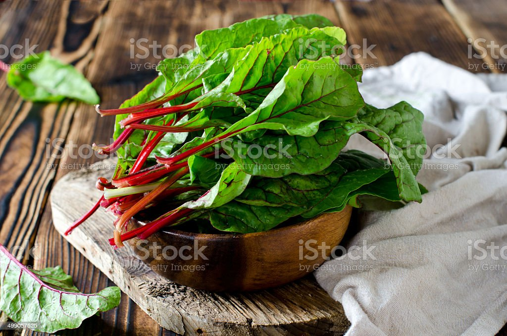 Chard leaves in a bowl stock photo