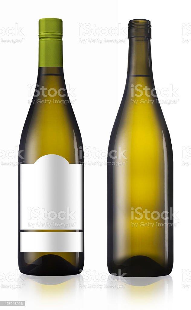 Chardonnay burgundy white wine bottle stock photo