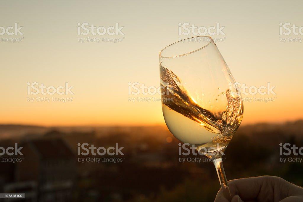 Chardonnay Glass stock photo
