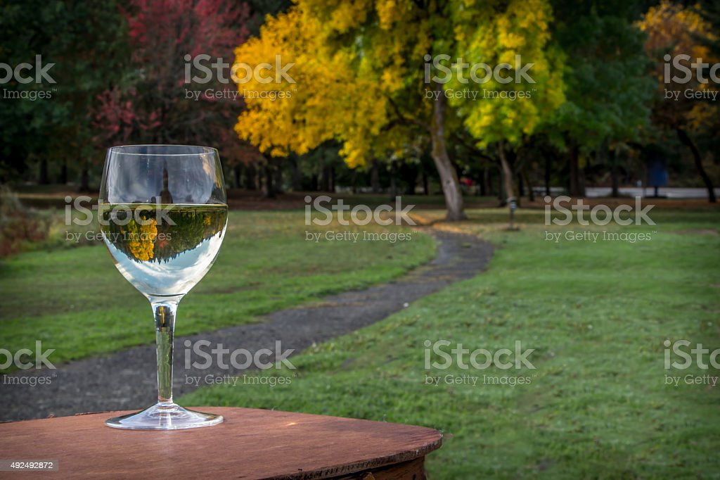 Chardonnay Wine Glass Inverting Fall Foliage Brilliant Colors Picnic Setting stock photo