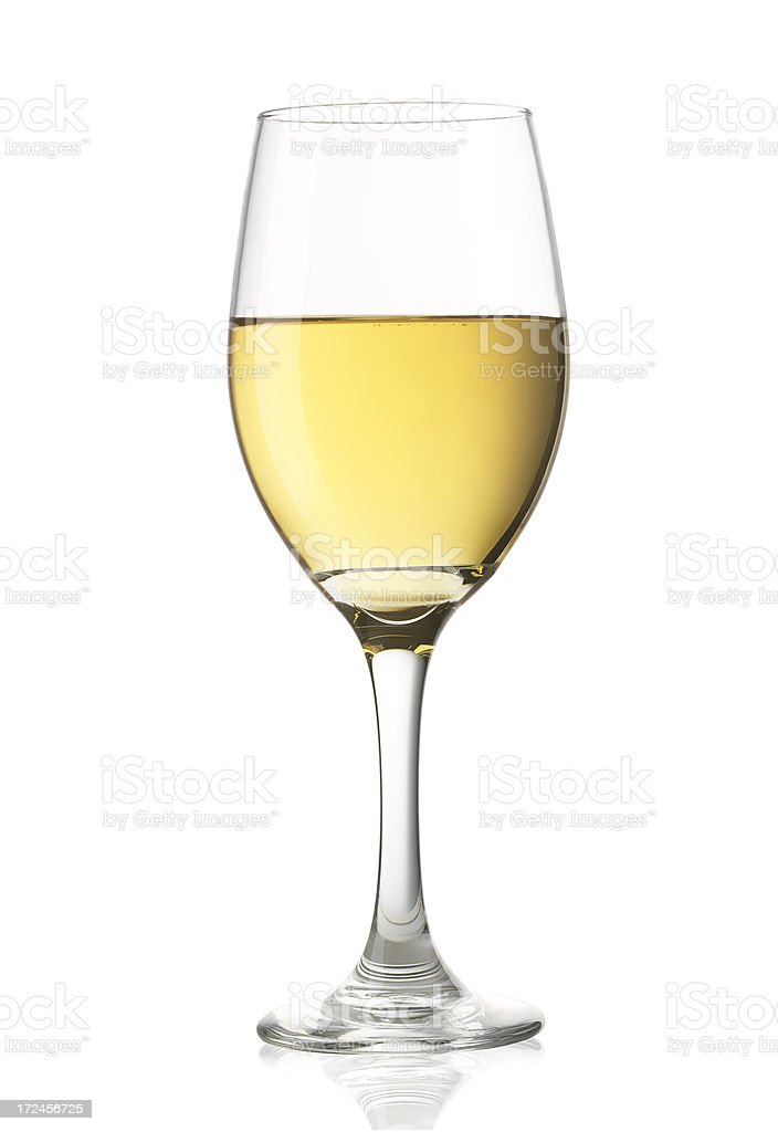 Chardonnay Wine Glass on White stock photo