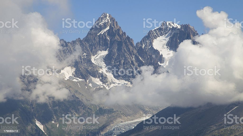 Chardonnet and Argentiere needles from Flegere royalty-free stock photo