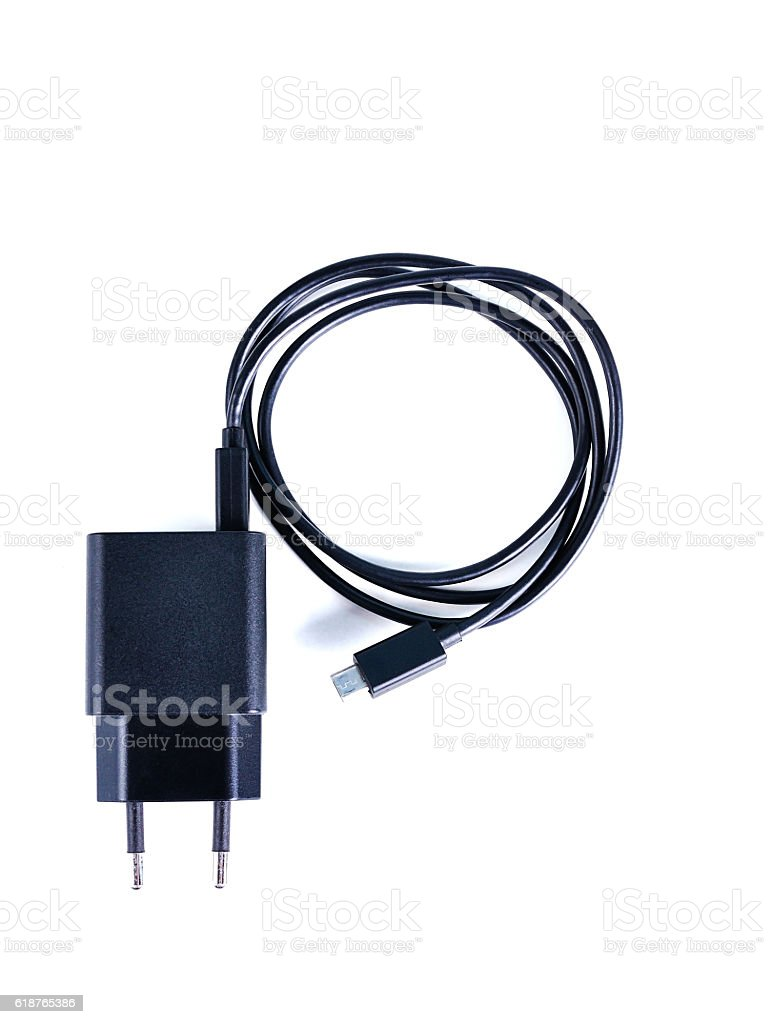 charger cable close up on white stock photo