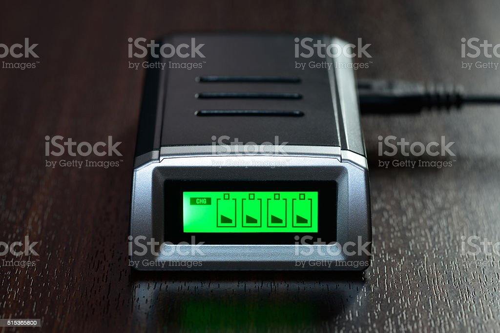 Charger lies on a table stock photo