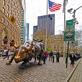 Charging Bull at Wall Street in Financial District New York