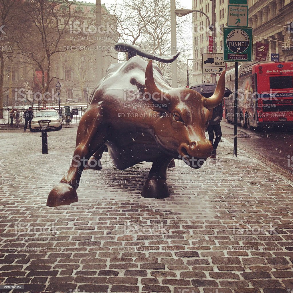 Charging Bull of Wall Street stock photo