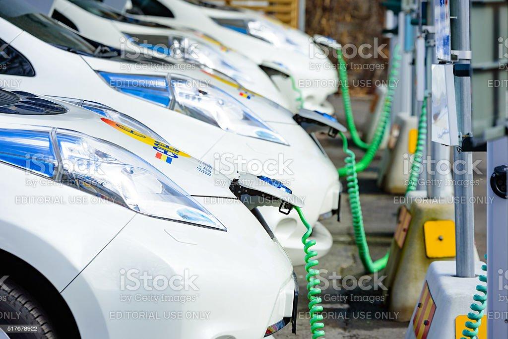 Charging cars stock photo
