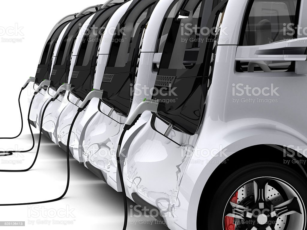 Charging Electric Cars stock photo
