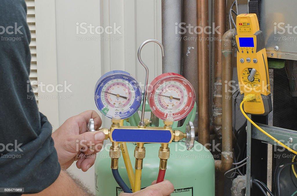 Charging HVAC system. stock photo