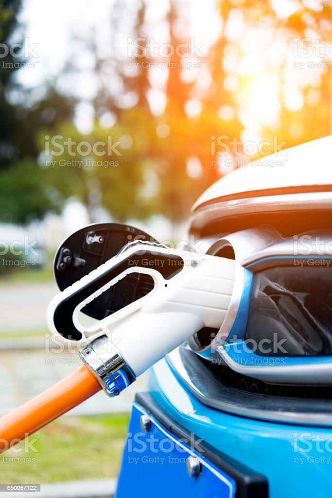 Charging point for electric car stock photo