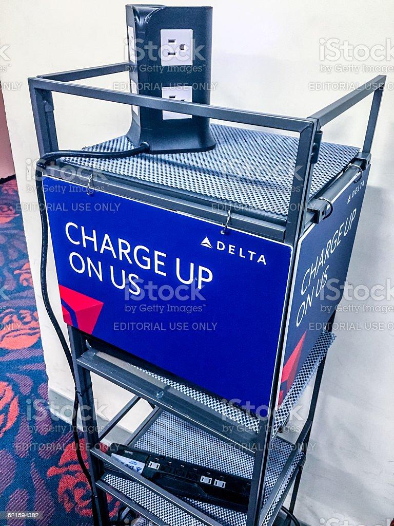 Charging station at Kahului Airport, Maui, Hawaii, USA stock photo
