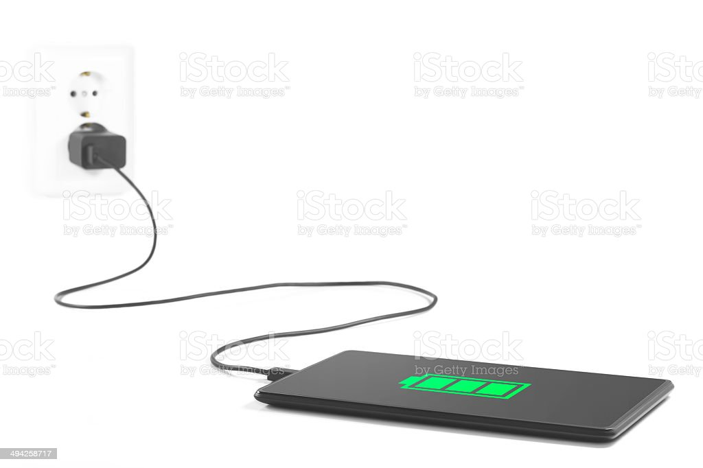 Charging tablet Connection. stock photo