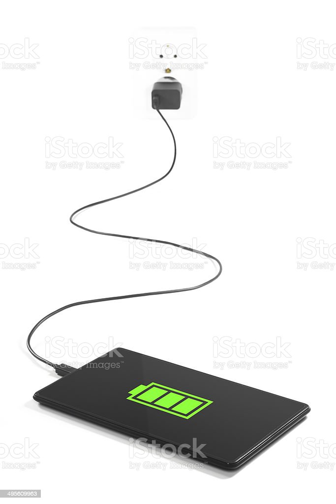Charging tablet ?onnection. stock photo