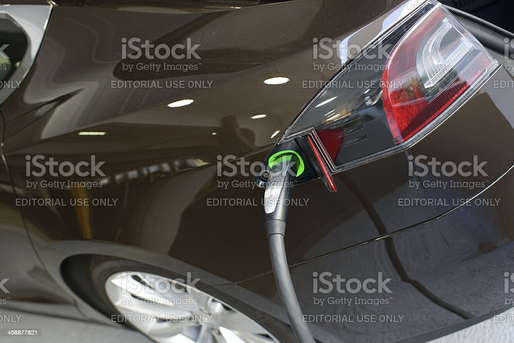 Charging Tesla Motors Model S royalty-free stock photo