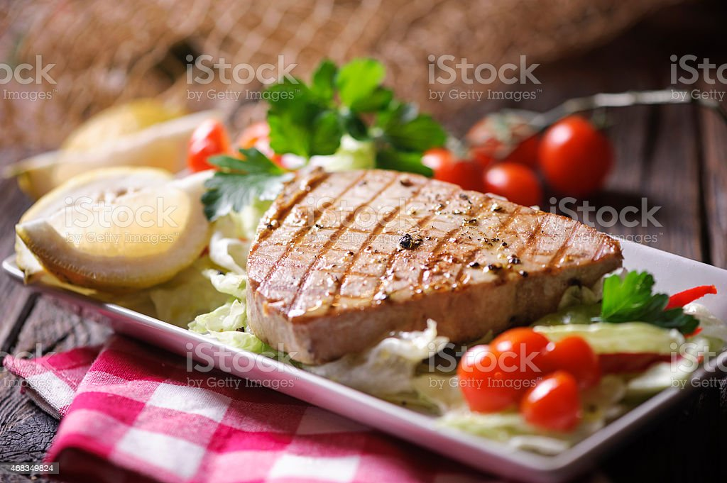 Chargrilled Tuna Steak stock photo