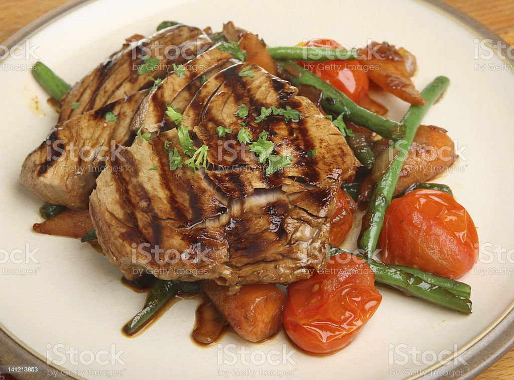 Chargrilled Tuna Steak with Vegetables royalty-free stock photo