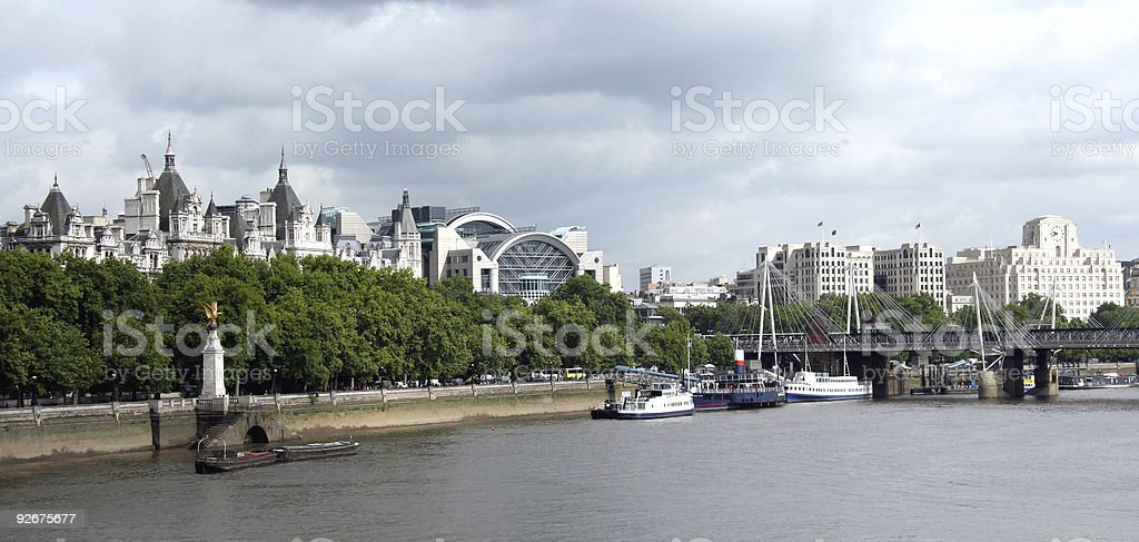 Charing Cross from Thames stock photo