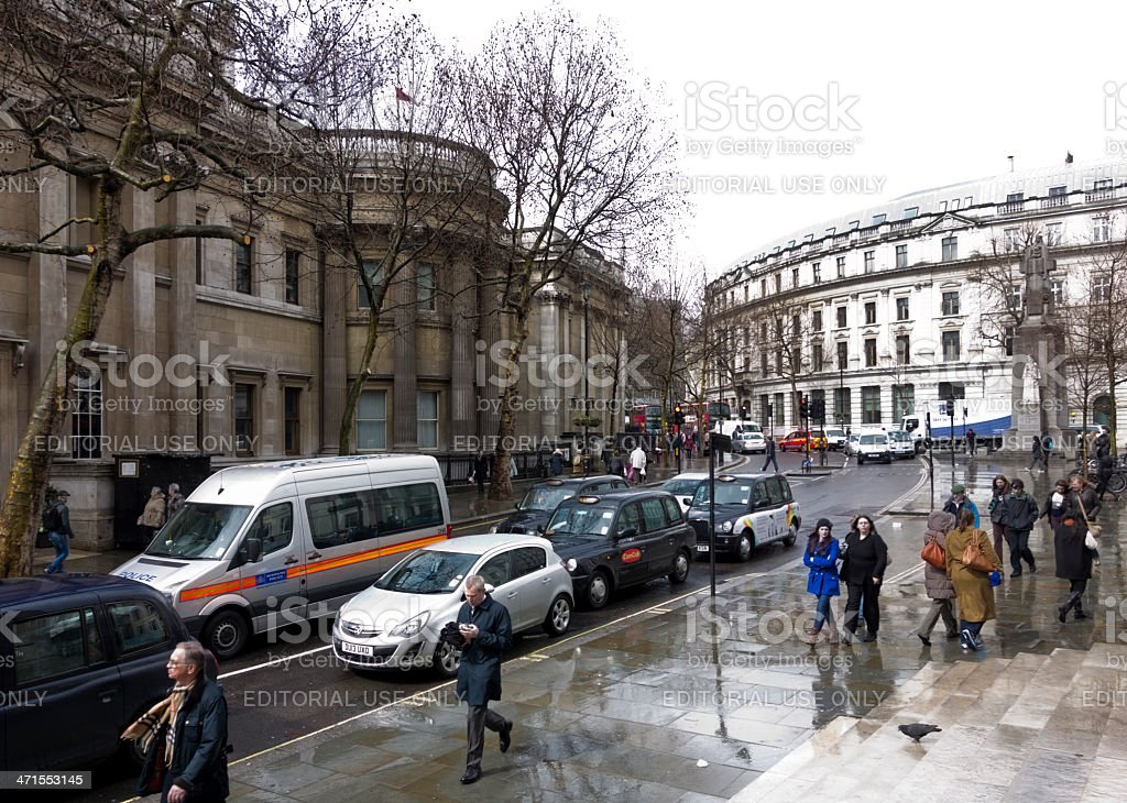 Charing Cross Road, London, on a wet day royalty-free stock photo