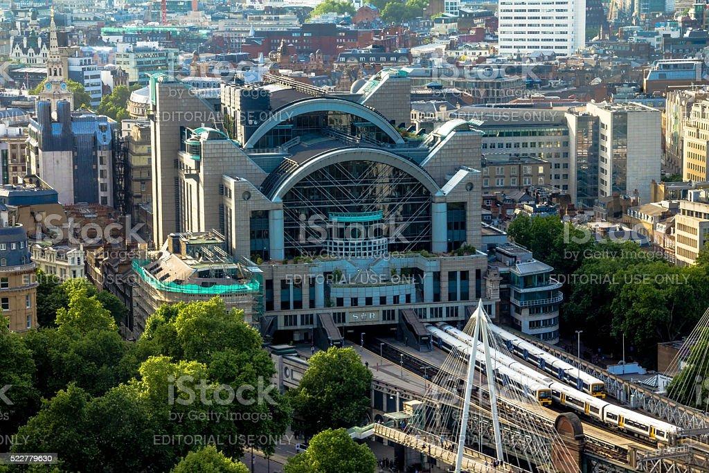 Charing Cross Station at  bridge over the Thames. London, UK stock photo