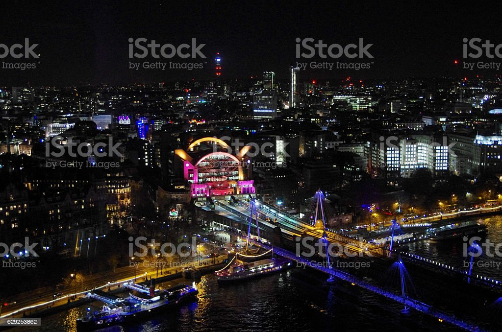 Charing Cross station from the London Eye stock photo